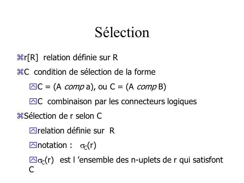 Sélection r[R] relation définie sur R